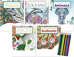 Coloring Book Gift Pack: 5 Adult Coloring Books | Oceans Coloring Book, Nature Coloring Book, Animals Coloring Book, ZenDo...