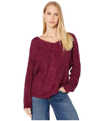 Miss Me Twist Back Deep V Fuzzy Sweater (Burgundy Red) Women