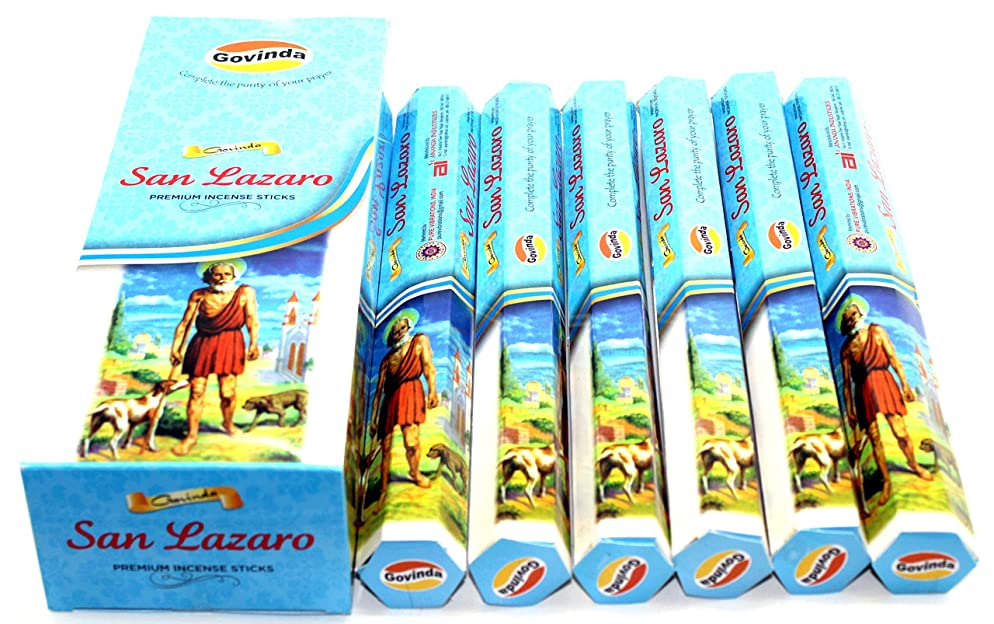 簿記係ブルゴーニュ影のあるGovinda ? Incense?–?San Lazaro?–?120?Incense Sticks、プレミアムMasala Incense