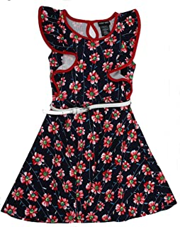 Paper Doll Girls Sleeveless Dress (Navy/Red Floral)