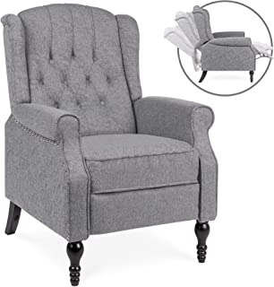 Best Choice Products Tufted Upholstered Wingback Push Back Recliner Armchair w/Padded Seat, Nailhead Trim - Charcoal