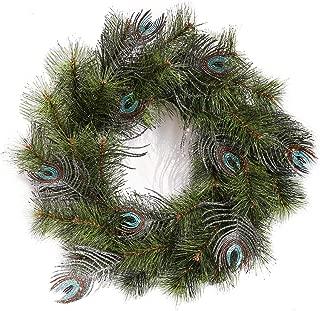 Leelife Wintry Pine Christmas Wreath, Designer Full Crestwood Spruce Peacock Feather Christmas Wreath Enhances Front Door Decor