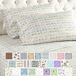 Thermee Micro Flannel Sheet Set, Queen, Bike Ride