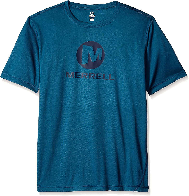 Merrell Max 66% OFF Men's Stacked Logo Tech Blue Medium Legion Tee overseas