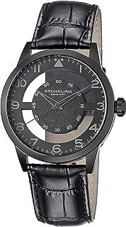 Stuhrling Original Men's 650.04 Aviator Quartz Transparent Dial Leather-Strap Black Watch