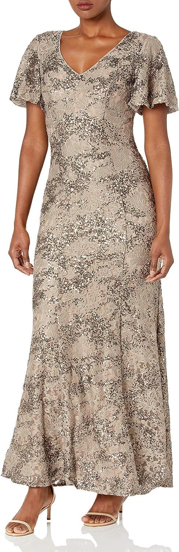 Alex Evenings Women's Long A-line Dress Lace Short 5 ☆ very popular Sleeve Sequin Recommendation