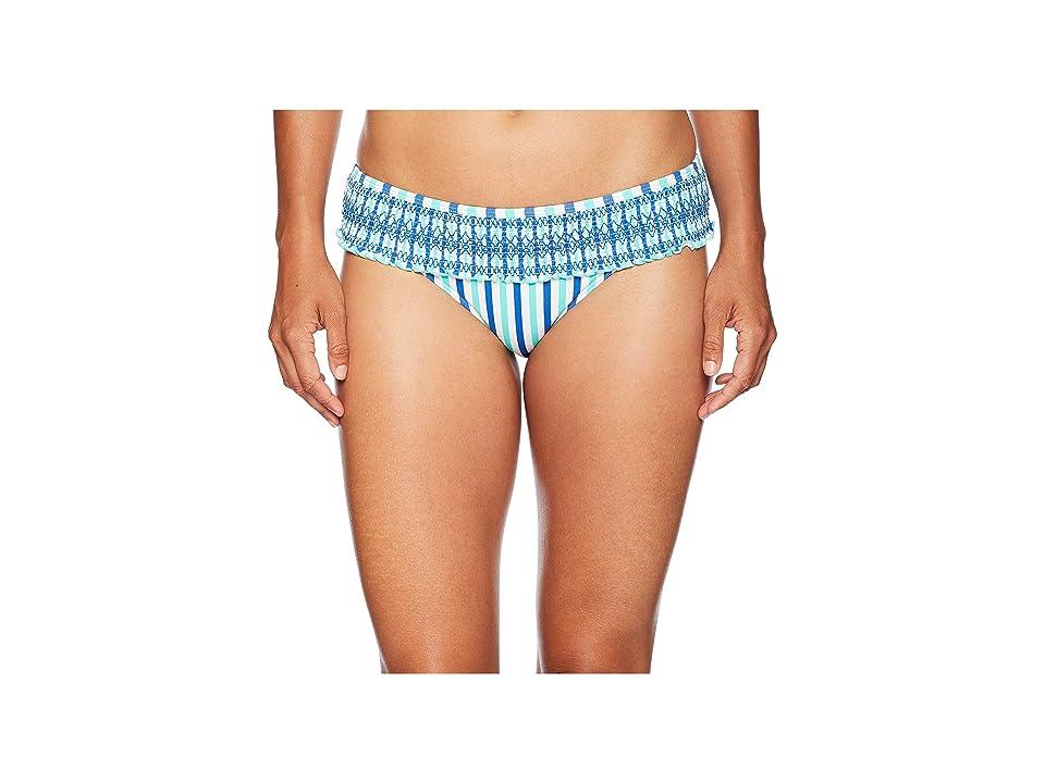 Vineyard Vines Golf Hope Bay Stripe Smocked Bikini Bottom (Capri Blue) Women
