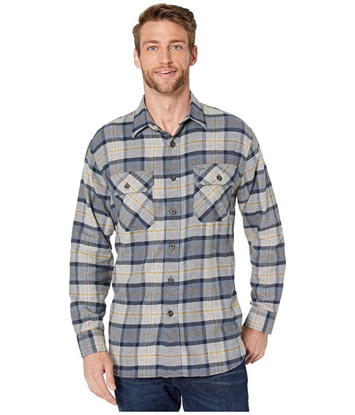 Brushed Flannel Shirt (Grey/Navy/Gold Plaid) Men's Clothing