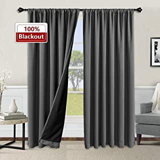 WONTEX 100% Thermal Blackout Curtains for Bedroom - Winter Insulating Rod Pocket Window Curtain Panels, Noise Reducing and Sun Blocking Lined Living Room Curtains, Grey, 52 x 63 inch, Set of 2