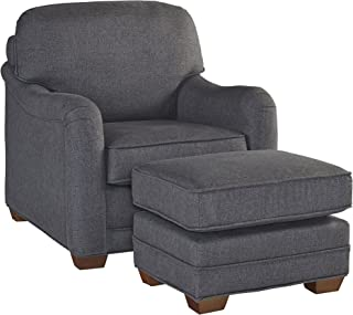 Magean Grey Stationary Chair and Ottoman by Home Styles