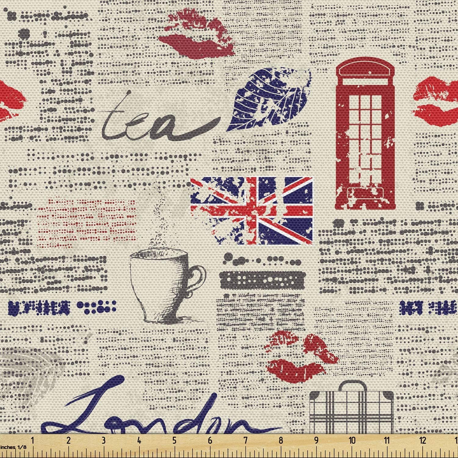 Ambesonne Tea Party Fabric by London 爆買い新作 Inspire 新着 The Newspaper Yard