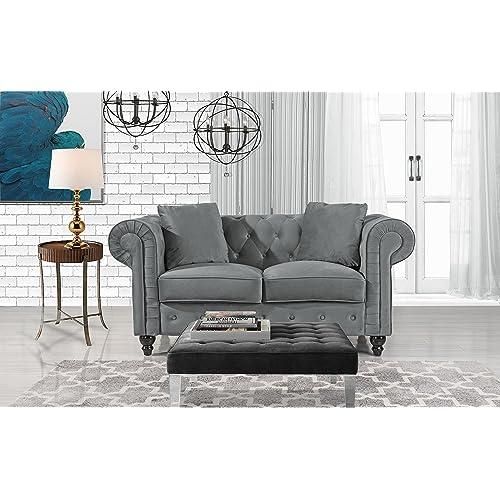 e9821ad632374 Divano Roma Furniture Classic Modern Scroll Arm Velvet Chesterfield Love  Seat Sofa (Grey)