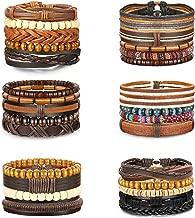Jstyle 26-28Pcs Braided Leather Bracelet for Men Women Wooden Beaded Cuff Wrap Bracelet Adjustable