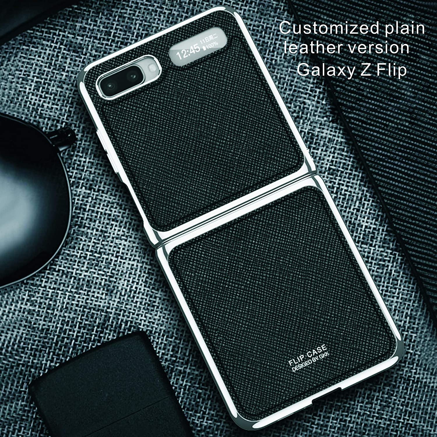 Case for Samsung Galaxy Z Flip Ultra-Thin Protective Cover, Bare-Metal Hand Feel, Leather Material, 360 All-Round Protection, Firm and Non-Shedding(Cross Pattern Black)