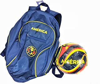 Club America Soccer Backpack + Size 5 Blue Soccer Ball Gift Bundle Official Licensed Soccer Bag Ball Holder