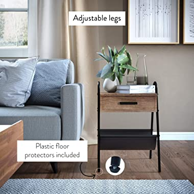 Nathan James Hugo Wood Nightstand, Rustic Accent End or Side Table with Drawer, Durable Black Metal Frame & Leather Hammo