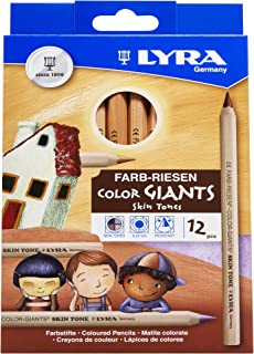 LYRA Color-Giants Colored Pencils, Unlacquered, 6.25 Millimeter Cores, Assorted Skin Tone Colors, 12-Pack (3931124)