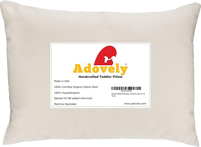 Adovely Toddler Pillow Organic Cotton Down Like Fill 13 X 18