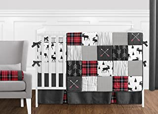 Sweet Jojo Designs Grey, Black and Red Woodland Plaid and Arrow Rustic Patch Baby Boy Crib Bedding Set with Bumper - 9 Pieces - Flannel Moose Gray