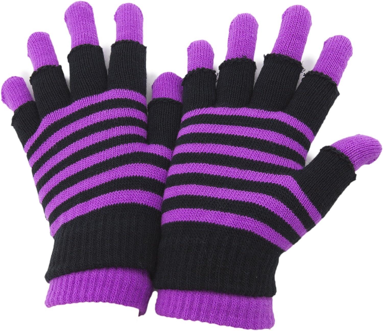 Purple Socksmad Ladies /& Girls Super Soft Stripy Magic 2 in 1 Winter Gloves with Fingerless Gloves