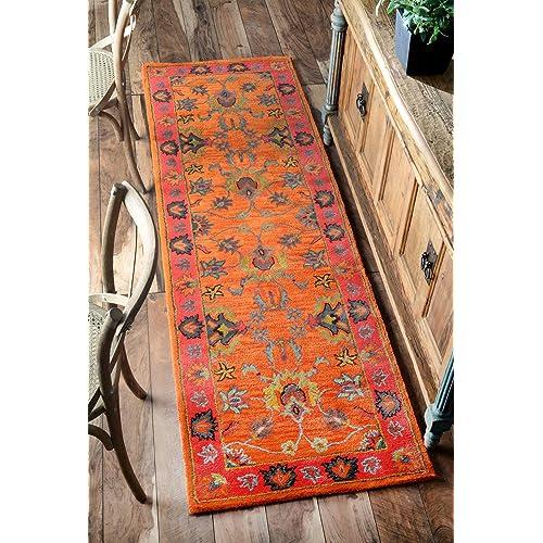 Handmade Overdyed Persian Orange Wool Runner Rug, 2 Feet 6 Inches by 8 Feet (