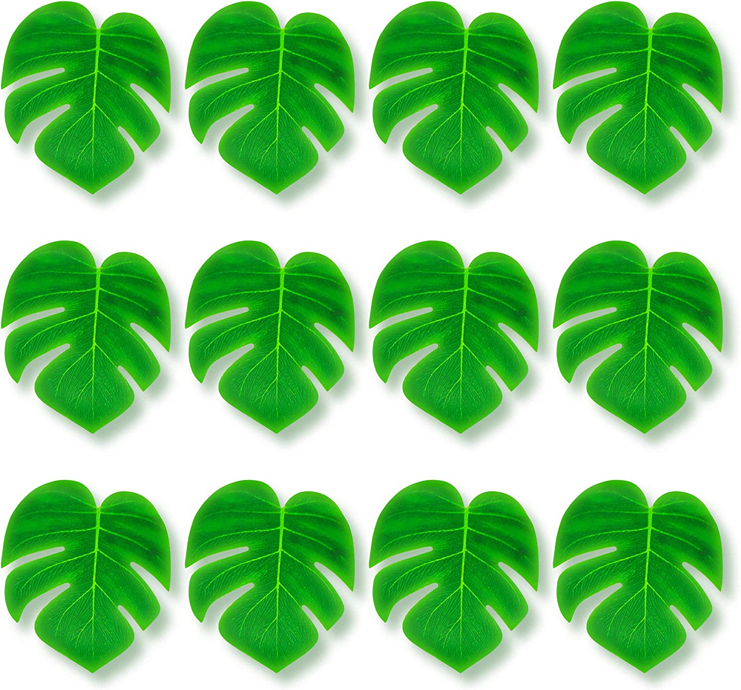 Tytroy 9ft Brown Hawaiian Luau Grass Table Skirt with Set of 12 Tropical Green Leaves