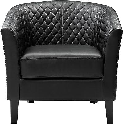 Pulaski Right2Home Upholstered Quilt-Back Barrel, Black Accent Chair, Medium