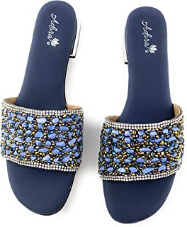 Ladies Indian Elegant, Flat, Soft & Comfortable Sandals for Women for Wedding/Evening/Anniversary/Occasion Party. ADORA ASI048-Nevy Blue