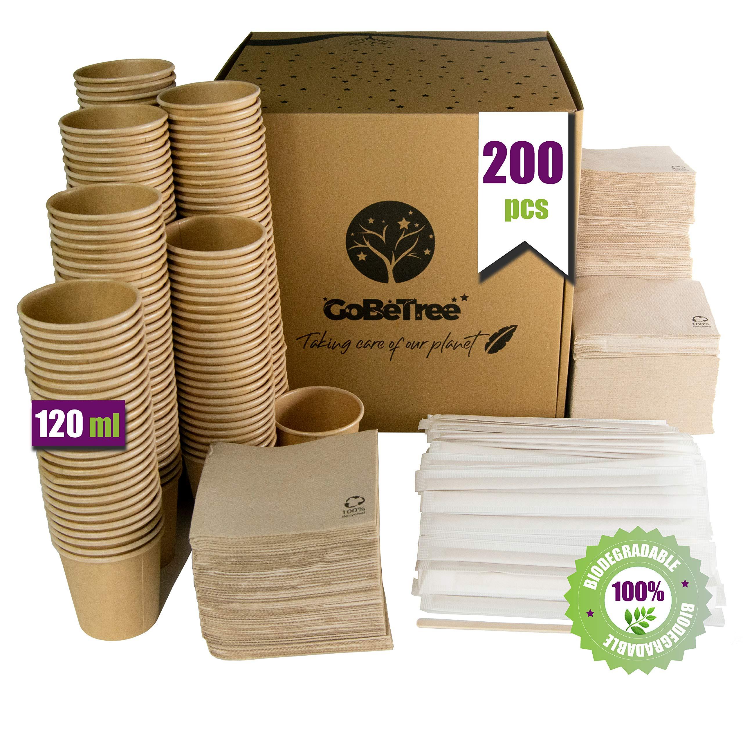 GoBeTree 200 Vasos de café Desechables Kraft con PLA para café expreso de 120 ml con agitadores de Madera en Funda de Papel para café y servilletas recicladas: Amazon.es: Hogar