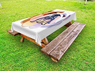 Ambesonne English Bulldog Outdoor Tablecloth, Bicolor Cartoon Style Bulldog Portrait Abstract Animal Design, Decorative Washable Picnic Table Cloth, 58