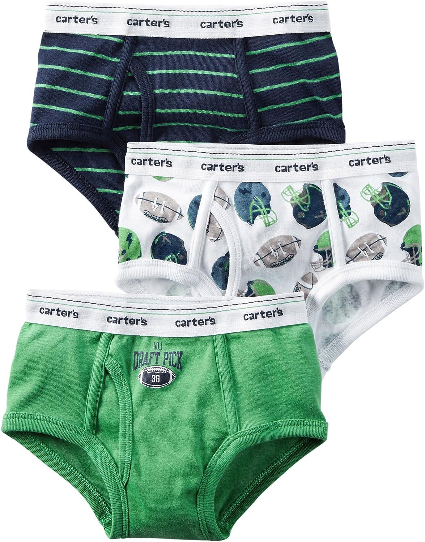 Carter's Little Boys' Cotton 3-pack Briefs (2/3T, Draft Pick/green navy)