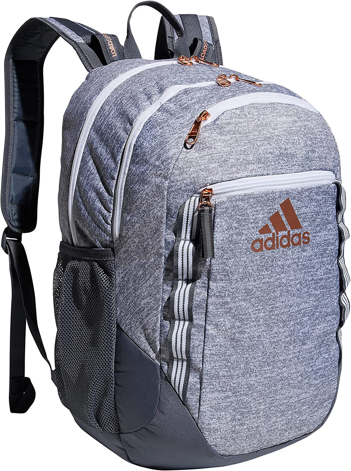 adidas Excel 6 Backpack, Jersey Grey/Onix Grey/Rose Gold, One Size