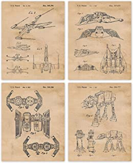 Vintage Star Wars Patent Poster Prints, Set of 4 Photos (8x10) Unframed, Great Wall Art Decor Gifts Under 20 for Home, Off...