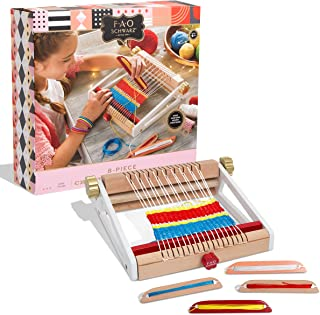 FAO Schwarz Kids 8-Piece Arts and Crafts Weaving Loom Set: Create Your Own Weaves and Fabric Projects with Colored String;...