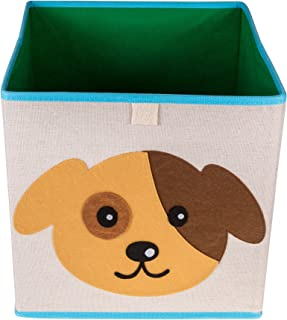 Clever Creations Cute Puppy Dog Collapsible Storage Organizer Folding Storage Cube for Bedroom & Living Room | Perfect Size Storage Cube for Books, Clothes, Electronics, or Gadgets