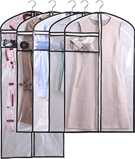 MISSLO Clear Suit Covers Carrier Garment Clothes Bags Storage with Accessories Zipper Pocket (White 5)