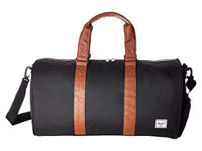 Herschel Supply Co. Novel Mid-Volume (Black/Tan Synthetic Leather) Duffel Bags