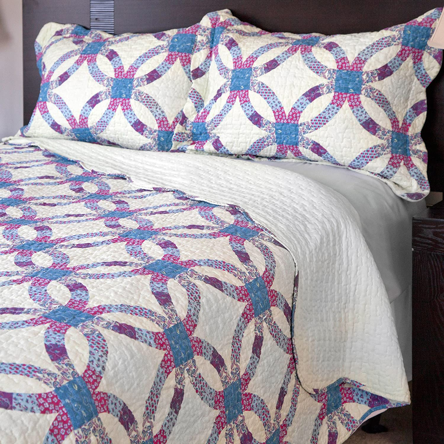 Bedford Home 3-Piece Wedding Ring Quilt Set, King