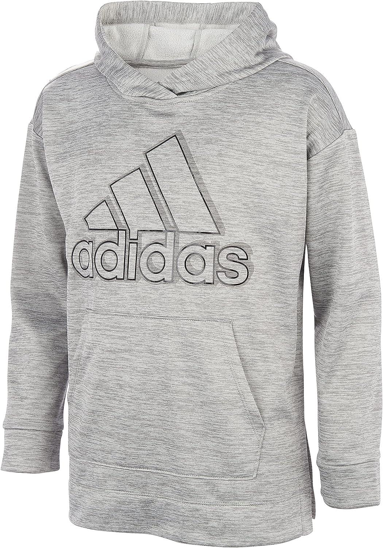 adidas Girls' Badge of Sport Mélange Fleece Pullover Hoodie, Medium Grey Heather, S(7/8)
