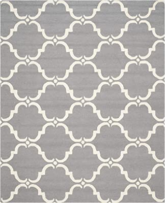 Safavieh Cambridge Collection CAM703D Handmade Moroccan Wool Area Rug, 8' x 10', Dark Grey/Ivory