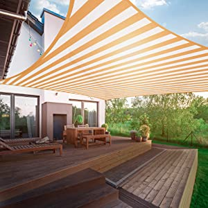Amasava Sun Shade Sail Rectangle, UV Block Shade Sail, 10' x 13' Patio Shade Canopy Sun Shades Outdoor Awning Shelter Fabric Cloth Screen for Courtyard, Pool, Garden, Patio Carport