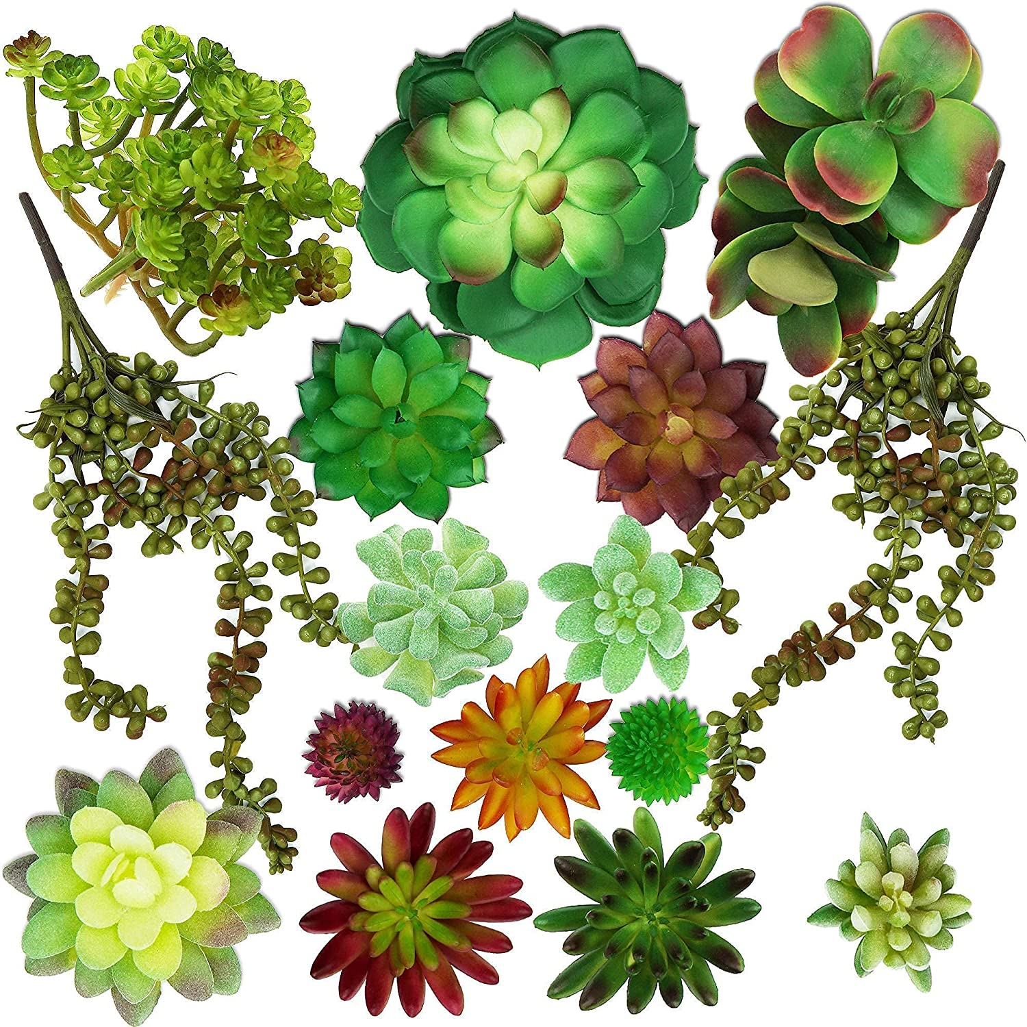 Succulents Plants Artificial 16 pcs - Faux Fake Unpotted Plants for Home Decorations - Includes String of Pearls Hanging Plant –Great Faux Indoor / Outdoor Greenery Decor in Terrarium, Pots or Shelf