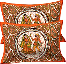 RajasthaniKart ® 100% Cotton Pillow Cover (Set of 2) -Ethnic Print, Multicolor (Orange)