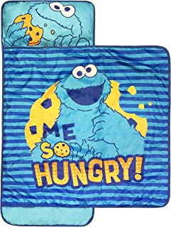 Sesame Street Me So Hungry Nap Mat - Built-in Pillow and Blanket featuring Cookie Monster - Super Soft Microfiber Kids'/Toddler/Children's Bedding, Ages 3-7 (Official Sesame Street Product)