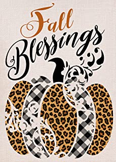 Furiaz Fall Blessings Leopard Pumpkin Garden Flag ، منزل ساحة ديكور العلم الصغير الخريف بافالو منقوشة ديكور المنزل الخارج...