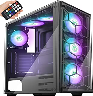 MUSETEX Phantom Black ATX Mid Tower Desktop Computer Gaming Case USB 3.0 Ports Tempered Glass Windows with 120mm LED RGB Fans Pre-Installed (907)