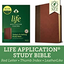 Tyndale NLT Life Application Study Bible, Third Edition (Red Letter, LeatherLike, Brown/Tan, Indexed) NLT Bible with Thumb Index, Updated Study Notes/Features, Full Text New Living Translation