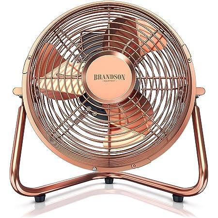Brandson - Ventilateur rétro 32 W - Ventilateur de Bureau – Silencieux – 3 Vitesse - Ventilateur sur Pied - Ventilateur de Table - Haut débit d'air - Inclinaison à 120° - cuivre rétro