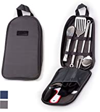Portable Outdoor Utensil Kitchen Set-9 Piece Cookware Kit, Carrying Organizer Bag-For Camping, Hiking, RV, Travel, BBQ, Gr...