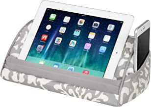LapGear Designer Tablet Pillow Stand with Phone Pocket - Gray Damask - Fits Most Tablet Devices - Style No. 35514